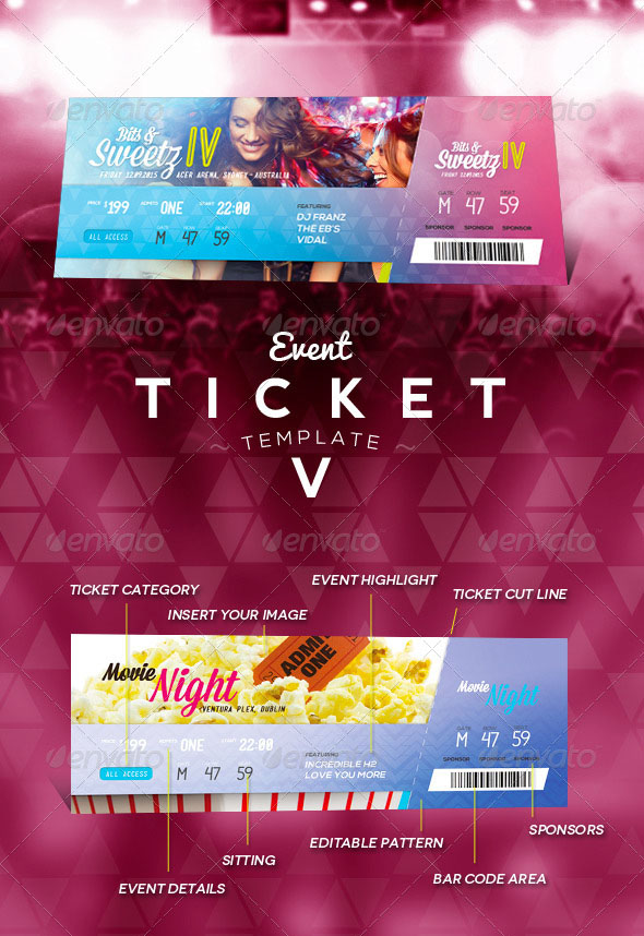 Colorful Event Ticket Template 5 U2013 Premium  Fundraiser Ticket Template Free Download