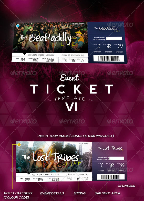 300 DPI Event Ticket Template 6  Event Ticket Template