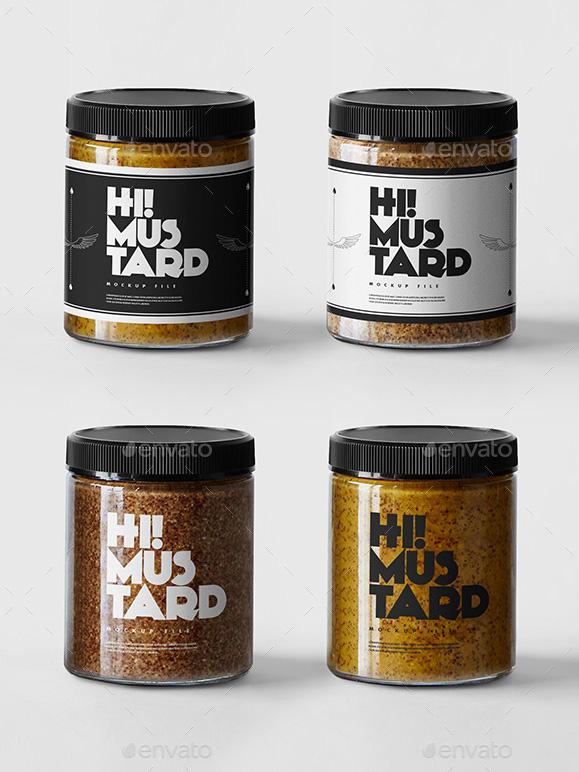 Mustard Jar Mockup Template – Premium