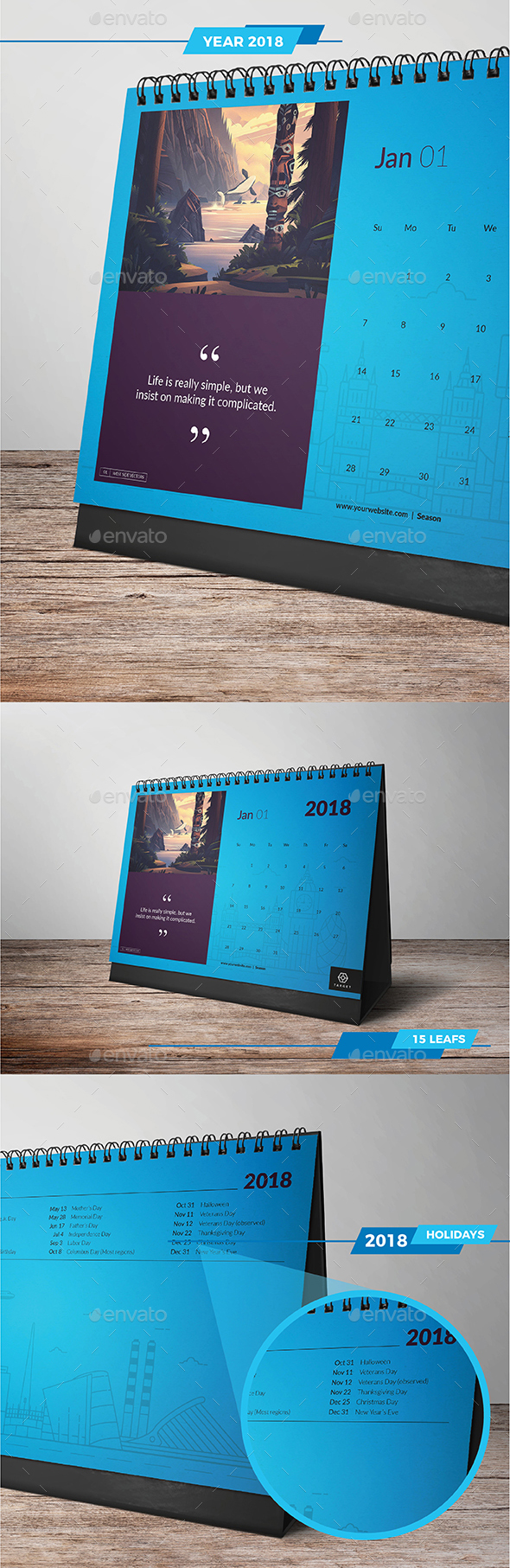 4 Different Colors Desk Calendar