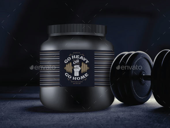Premium Protein Container, Supplement Bottle Mockup