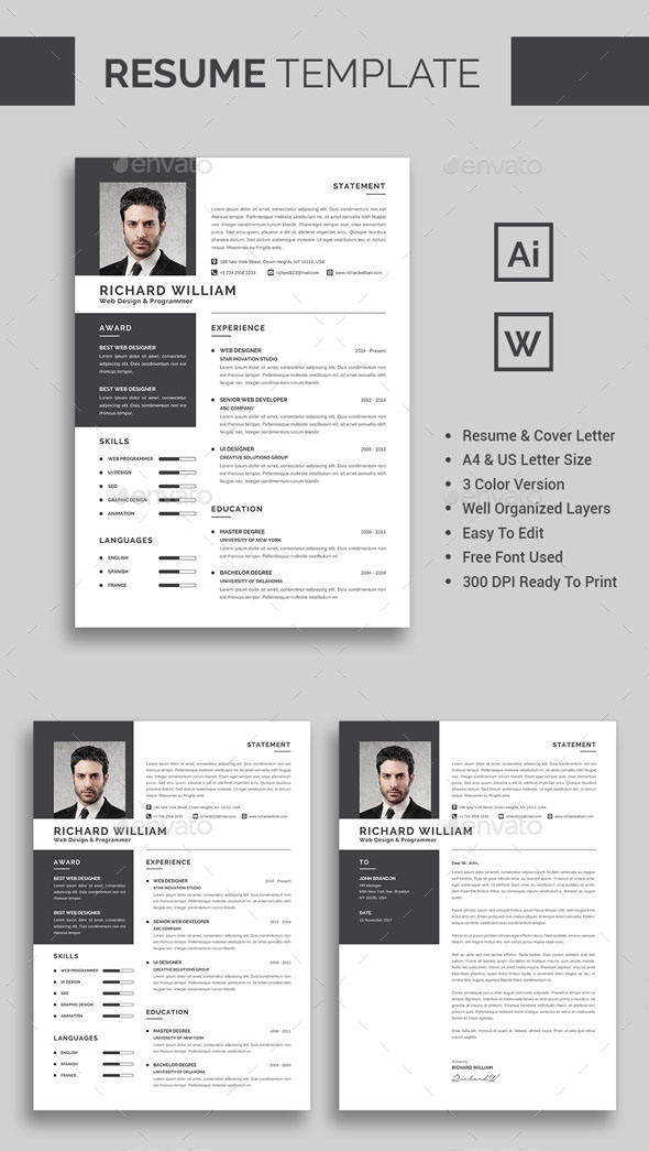 60 awesome resume cv templates 2018 word indesign psd premium resume template yelopaper Choice Image