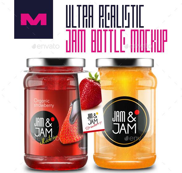 Realistic Jam Bottle Mockups – Premium