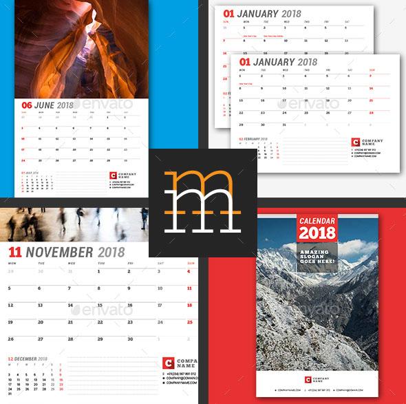 indesign calendar template 2018