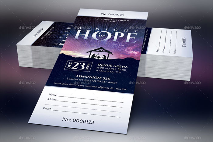 Hope Christmas Ticket Template