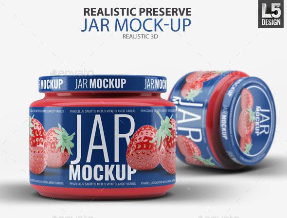Realistic Preserve Jar Mockup