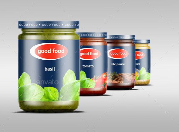 4 Realistic Sause Jar Mockup
