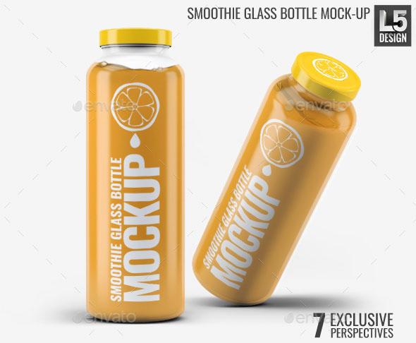 Premium – Smoothie Glass Bottle Mockup Template