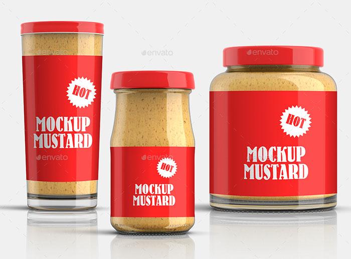 9 Mustard Jars Mockup