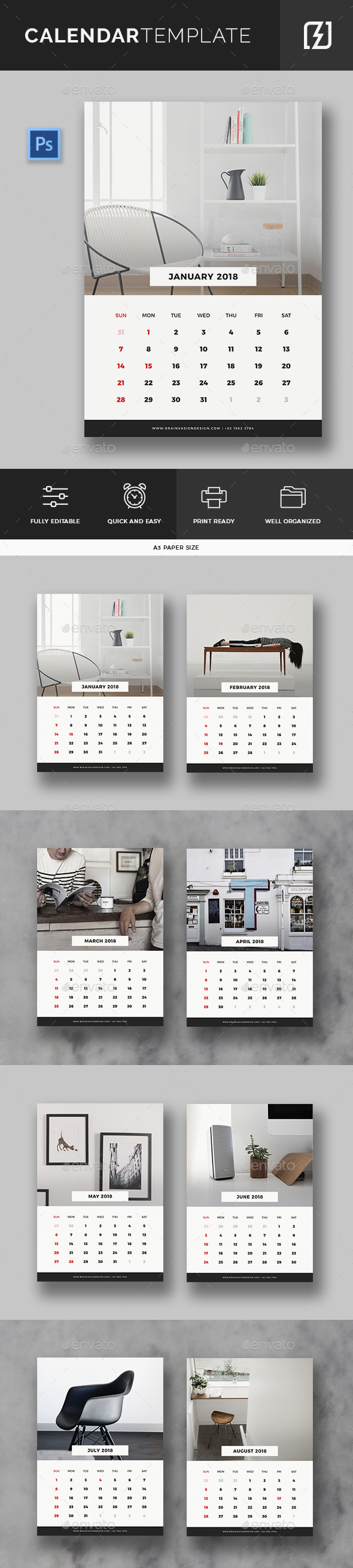 49 best calendar templates 2018 psd vector indesign. Black Bedroom Furniture Sets. Home Design Ideas