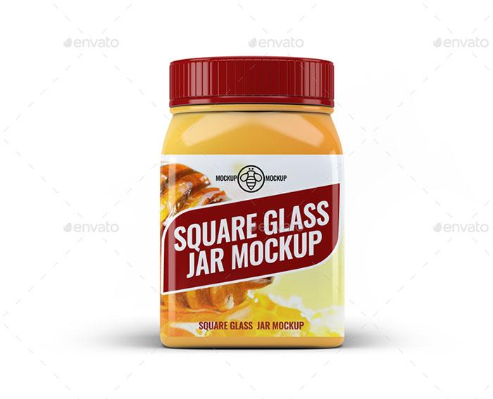Square Glass Jar Mockup