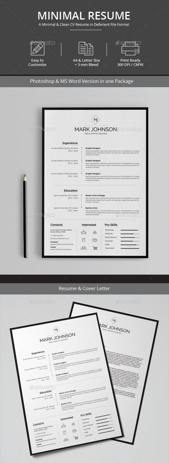 Awesome Resume Cv Templates  Word Indesign Psd