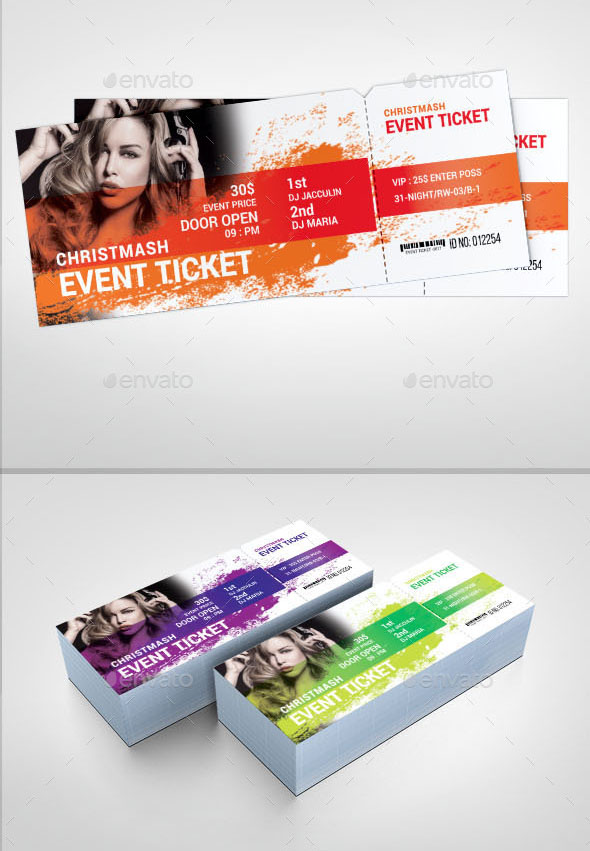 Unlimited Color Theme Ticket Template