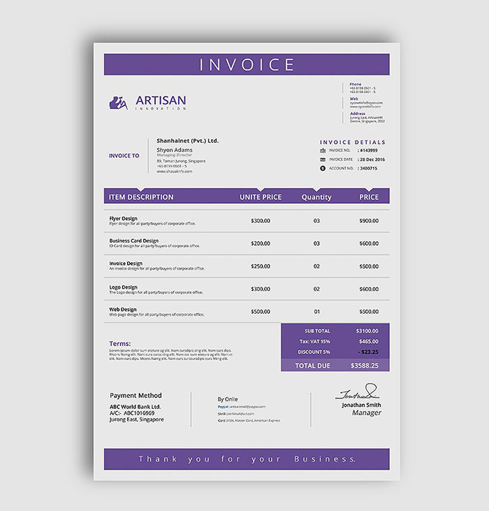 Premium A4 Invoice Mockup  Mock Invoice