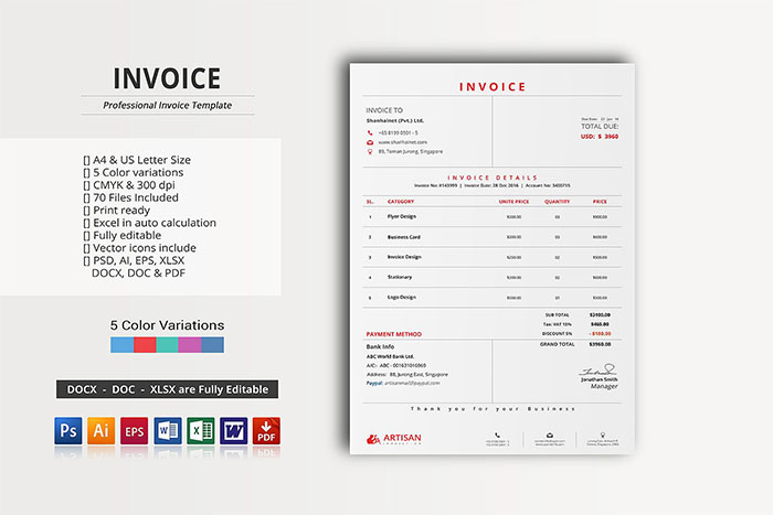 63 Invoice Design Templates 2018 Psd Word Excel Pdf Indesign