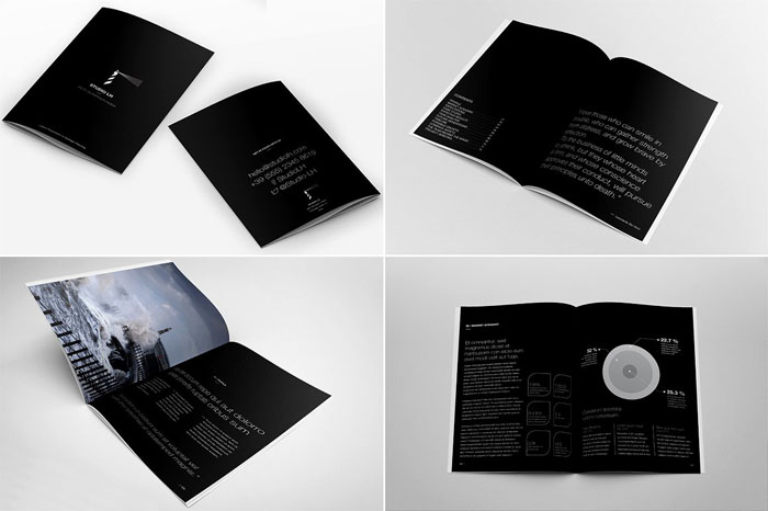 61 best brochure templates and mockups 2018 psd free for Black brochure template
