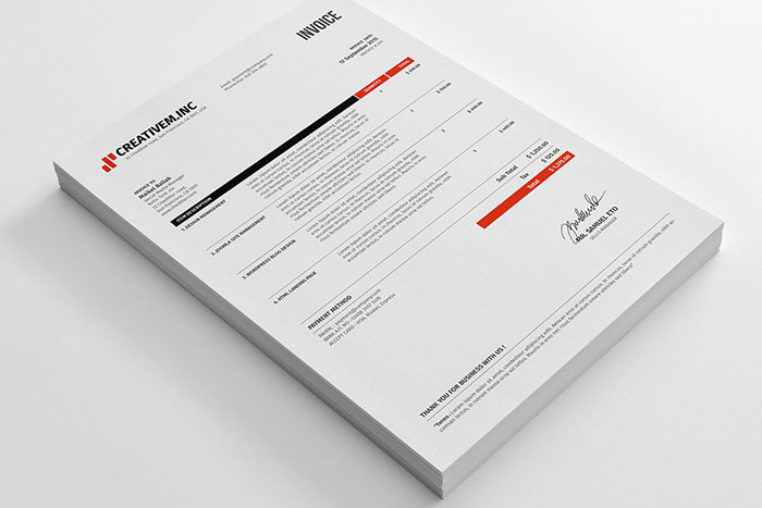 clean invoice template psd indd xls