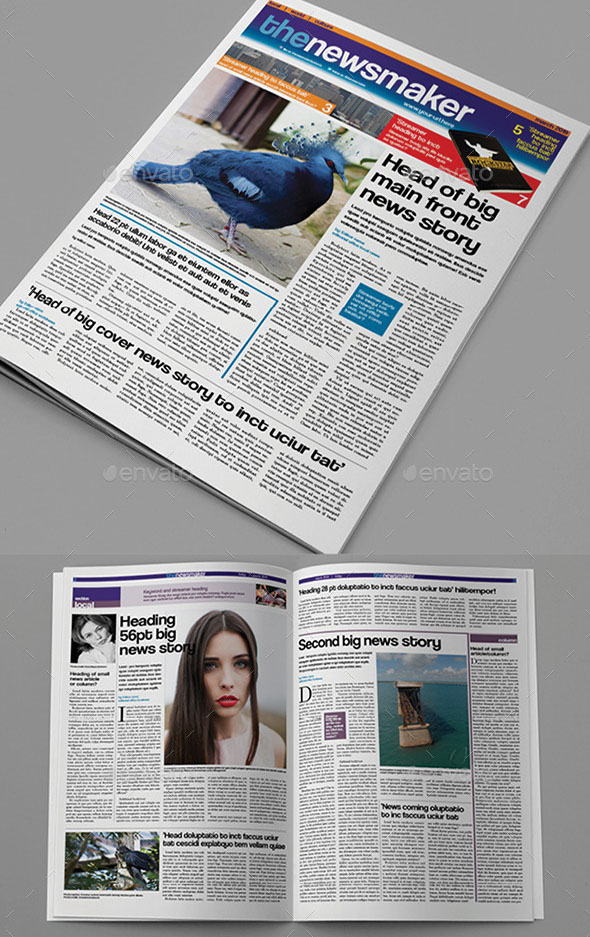 Hq Newspaper Mockups And Templates  Psd Indesign