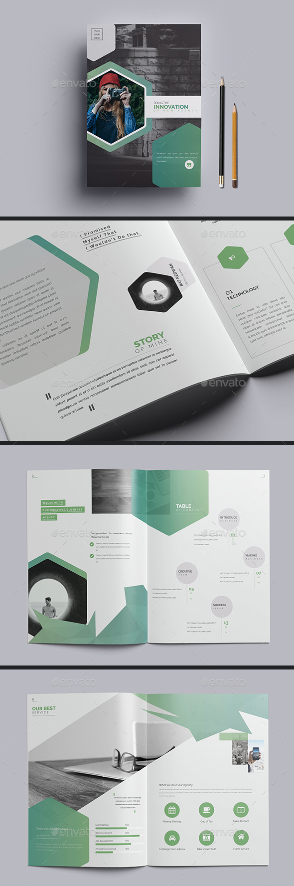 premium indesign brochure template a4 letter