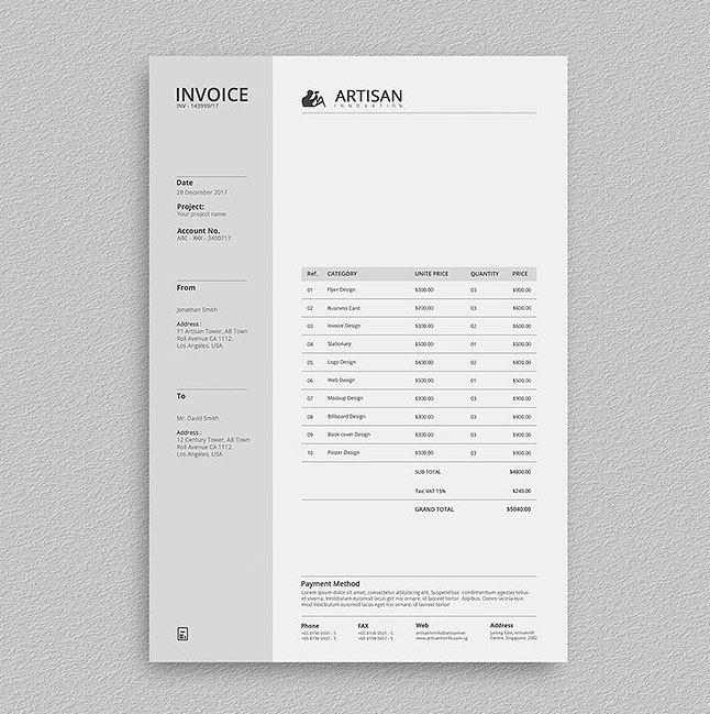 63+ Invoice Design Templates 2018 (PSD, Word, Excel, PDF, InDesign)