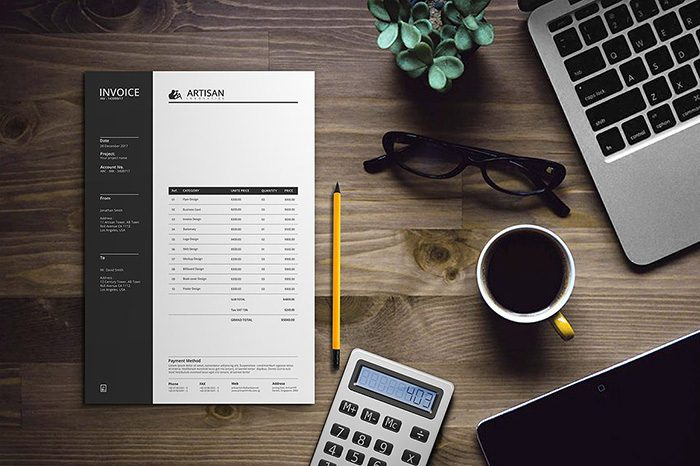 Invoice Design Templates PSD Word Excel PDF InDesign - How to make a invoice in excel online glasses store
