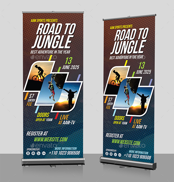 Best Roll Up Banner Mockups And Templates - Sports banner templates