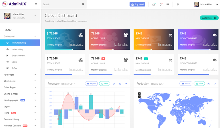 48+ Responsive Bootstrap 4 Admin Dashboard Templates 2018 (HTML5)
